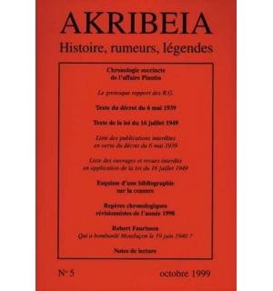 Akribeia, n° 5, octobre 1999